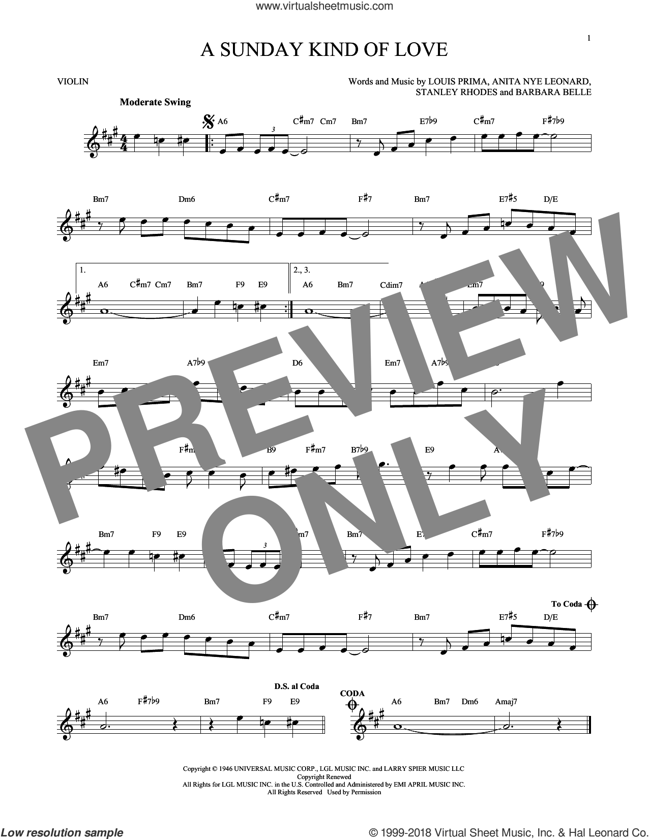 A Sunday Kind Of Love sheet music for violin solo by Stanley Rhodes, Etta James, Reba McEntire and Louis Prima. Score Image Preview.