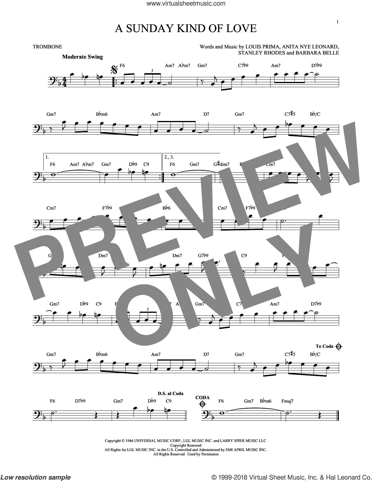 A Sunday Kind Of Love sheet music for trombone solo by Etta James, Reba McEntire and Louis Prima, intermediate trombone. Score Image Preview.