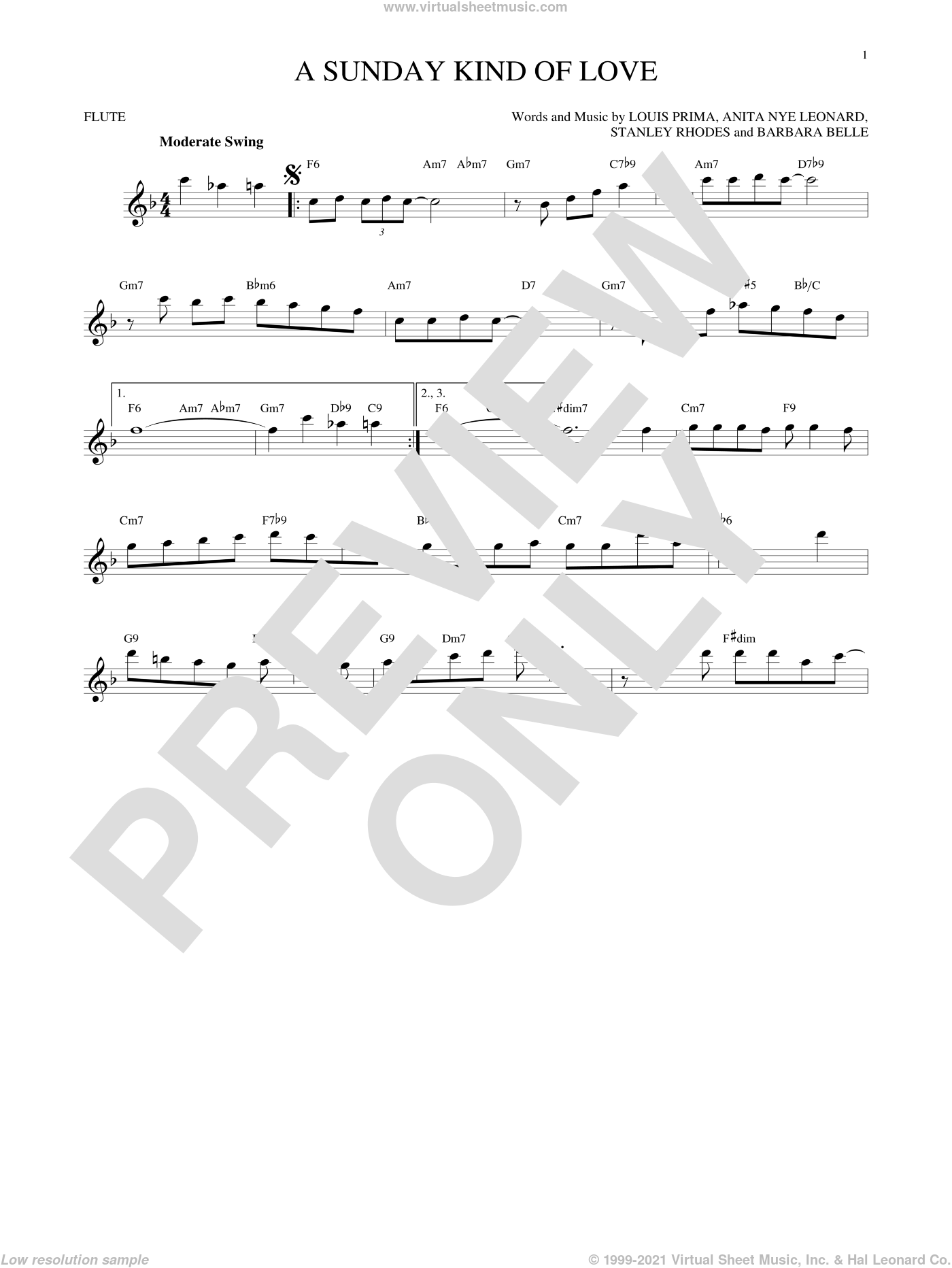 A Sunday Kind Of Love sheet music for flute solo by Stanley Rhodes, Etta James, Reba McEntire and Louis Prima. Score Image Preview.