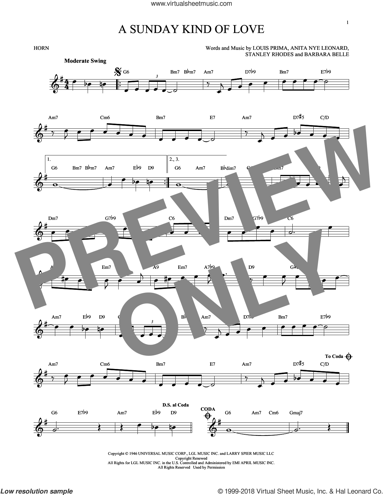 A Sunday Kind Of Love sheet music for horn solo by Stanley Rhodes, Etta James, Reba McEntire and Louis Prima. Score Image Preview.