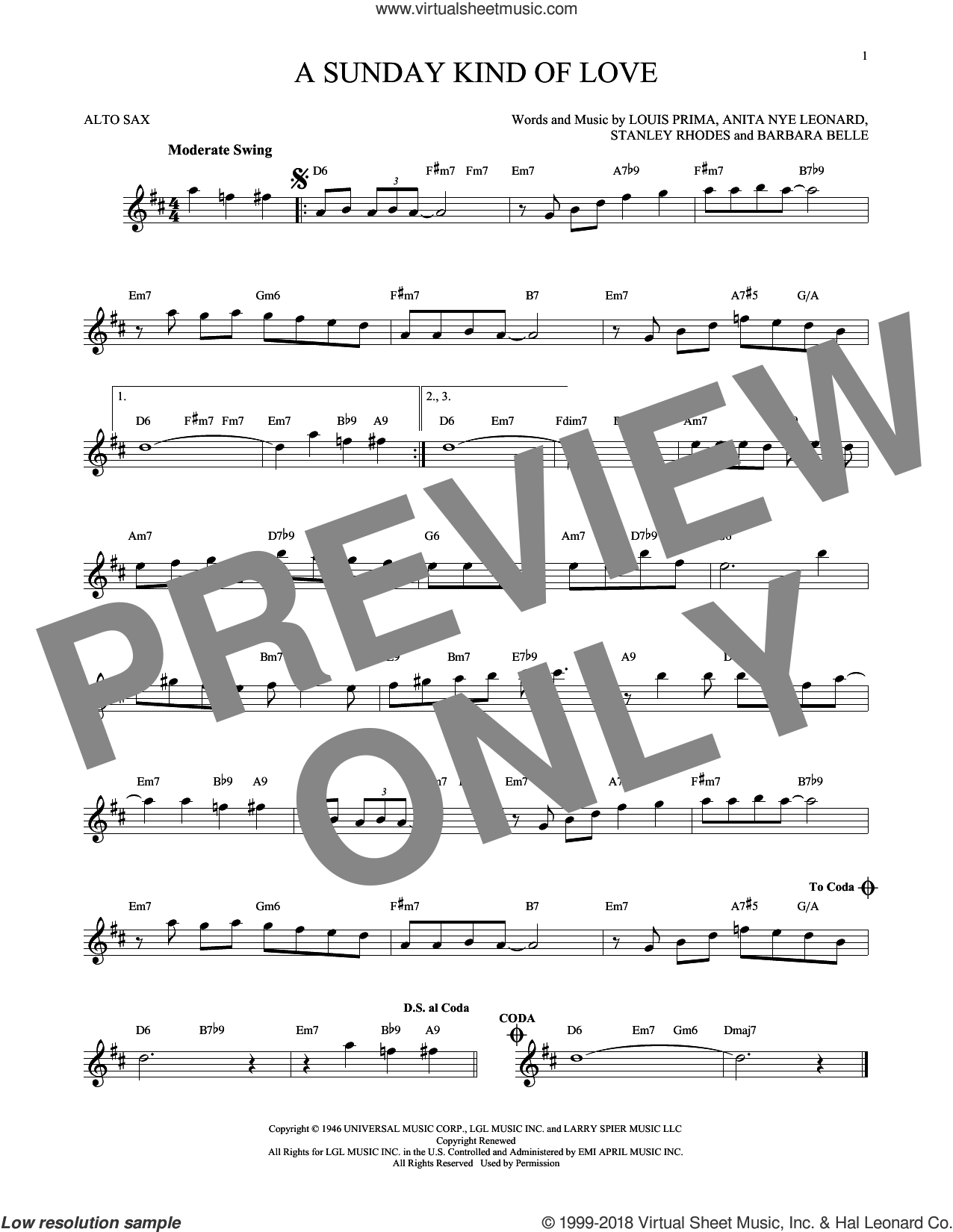 A Sunday Kind Of Love sheet music for alto saxophone solo by Etta James, Reba McEntire, Anita Nye Leonard, Barbara Belle, Louis Prima and Stanley Rhodes, intermediate skill level