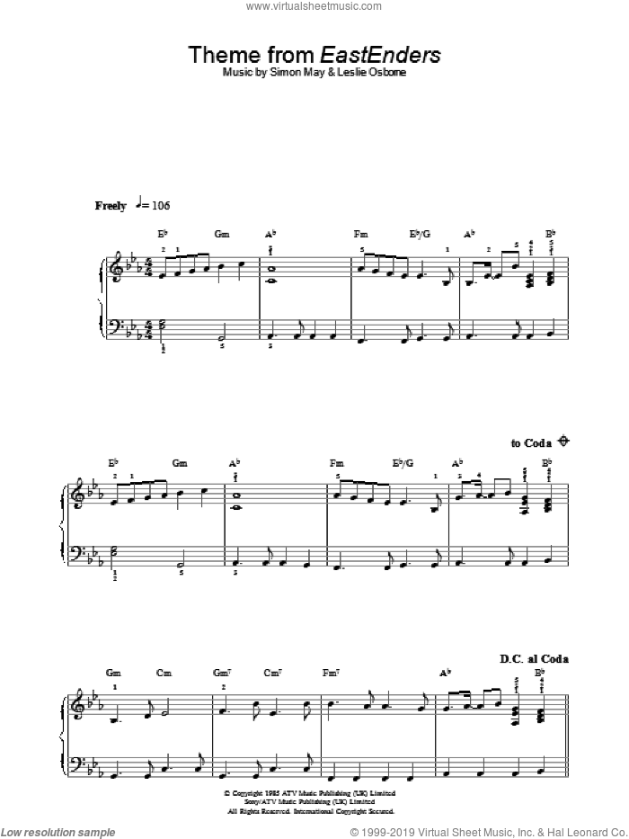 Theme From EastEnders sheet music for piano solo by Simon May