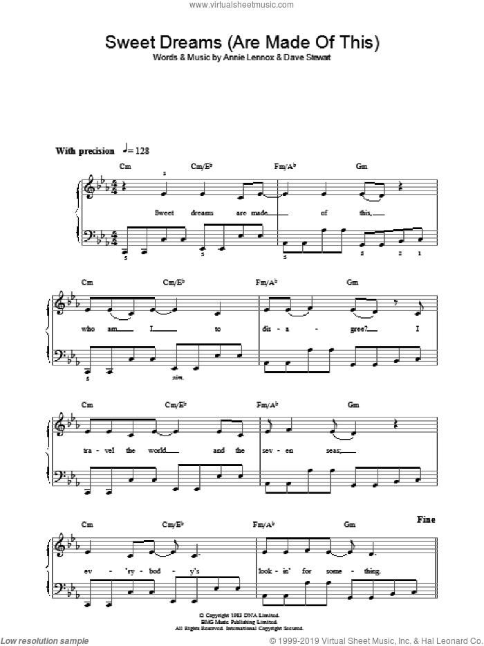 Sweet Dreams (Are Made Of This) sheet music for voice, piano or guitar by Dave Stewart, Eurythmics and Annie Lennox. Score Image Preview.