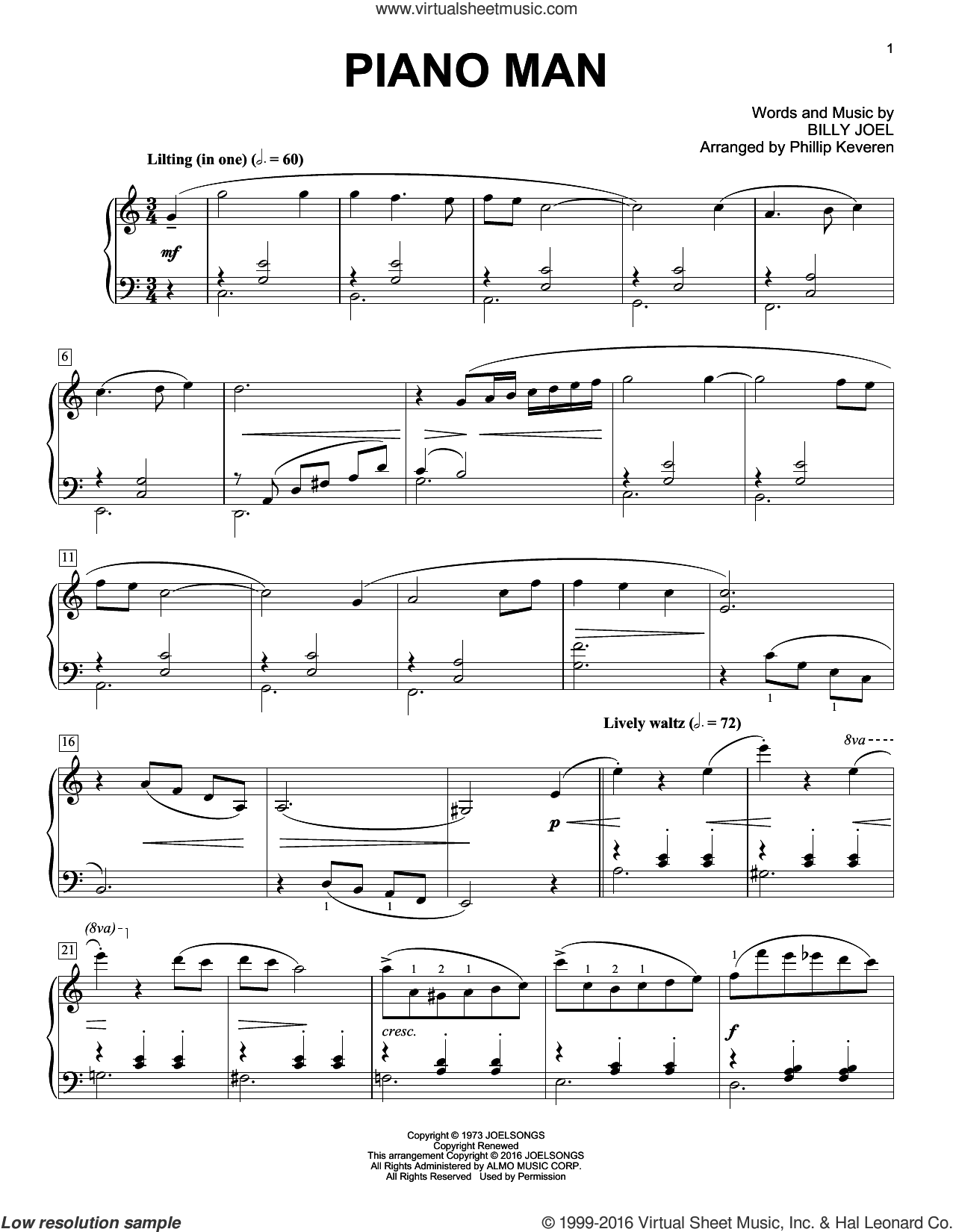 Piano Man [Classical version] (arr. Phillip Keveren) sheet music for piano solo by Billy Joel, Phillip Keveren and Billy Joel (Arr. Phillip Keveren), intermediate skill level