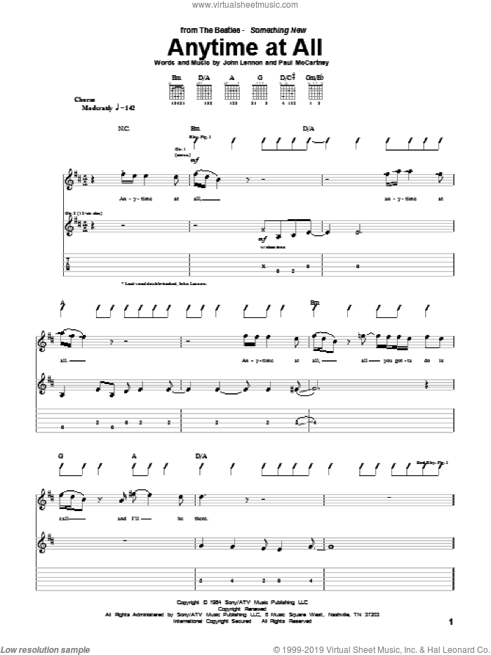 Anytime At All sheet music for guitar (tablature) by Paul McCartney
