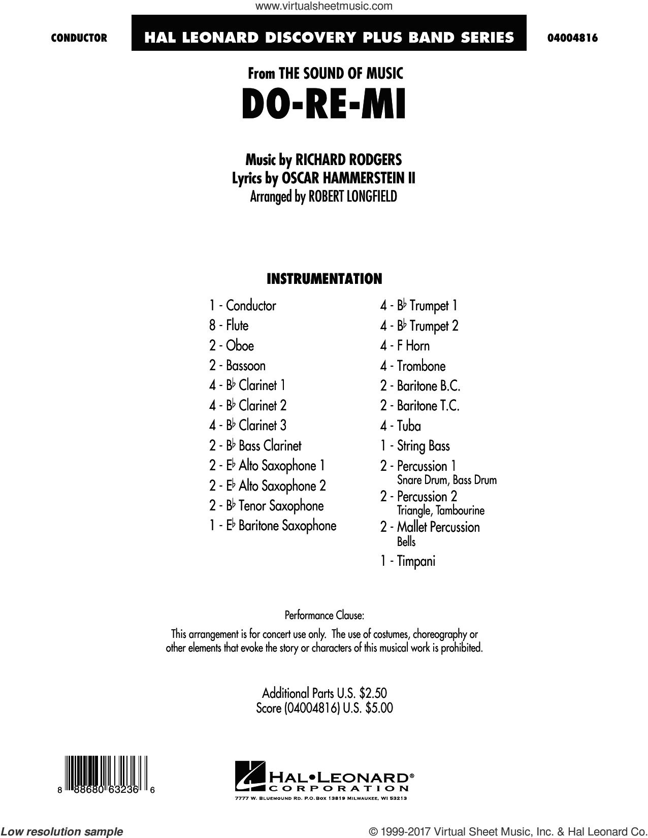 Do-Re-Mi (from The Sound of Music) (COMPLETE) sheet music for concert band by Richard Rodgers, Oscar II Hammerstein and Robert Longfield, intermediate skill level
