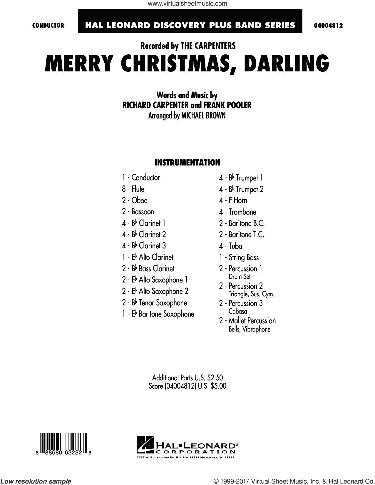 Merry Christmas, Darling (COMPLETE) sheet music for concert band by Carpenters, Frank Pooler and Michael Brown, intermediate. Score Image Preview.