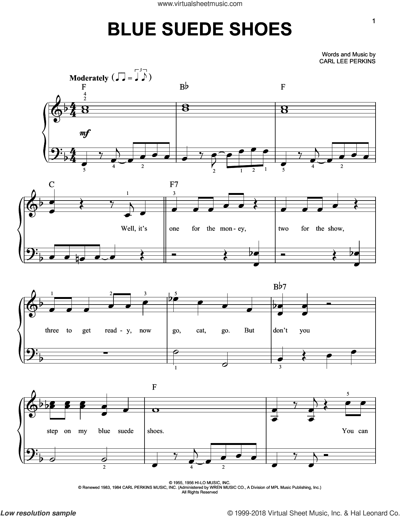 Blue Suede Shoes, (beginner) sheet music for piano solo by Elvis Presley and Carl Perkins, beginner skill level