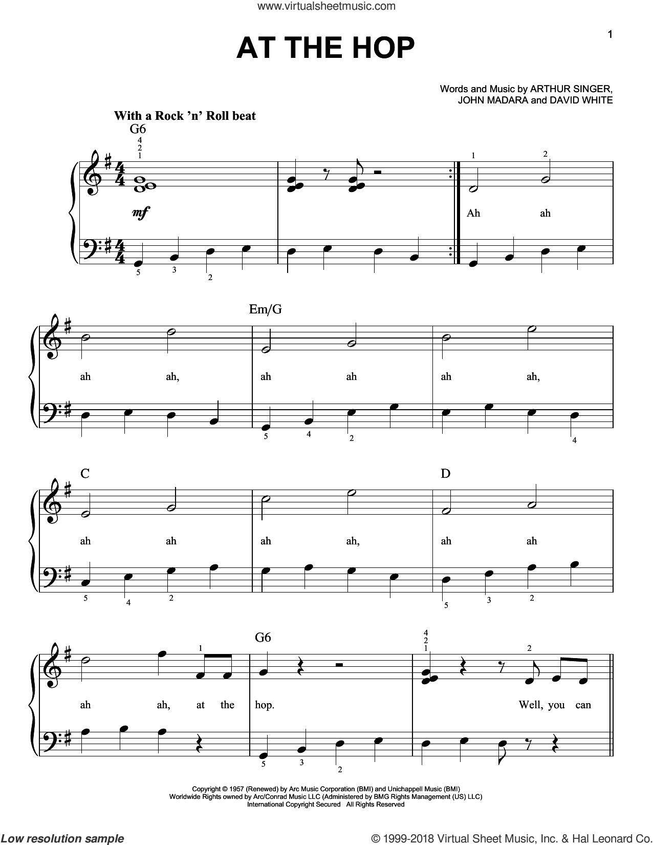 At The Hop sheet music for piano solo by Danny & The Juniors, Miscellaneous, Arthur Singer, David White and John Madara, beginner skill level