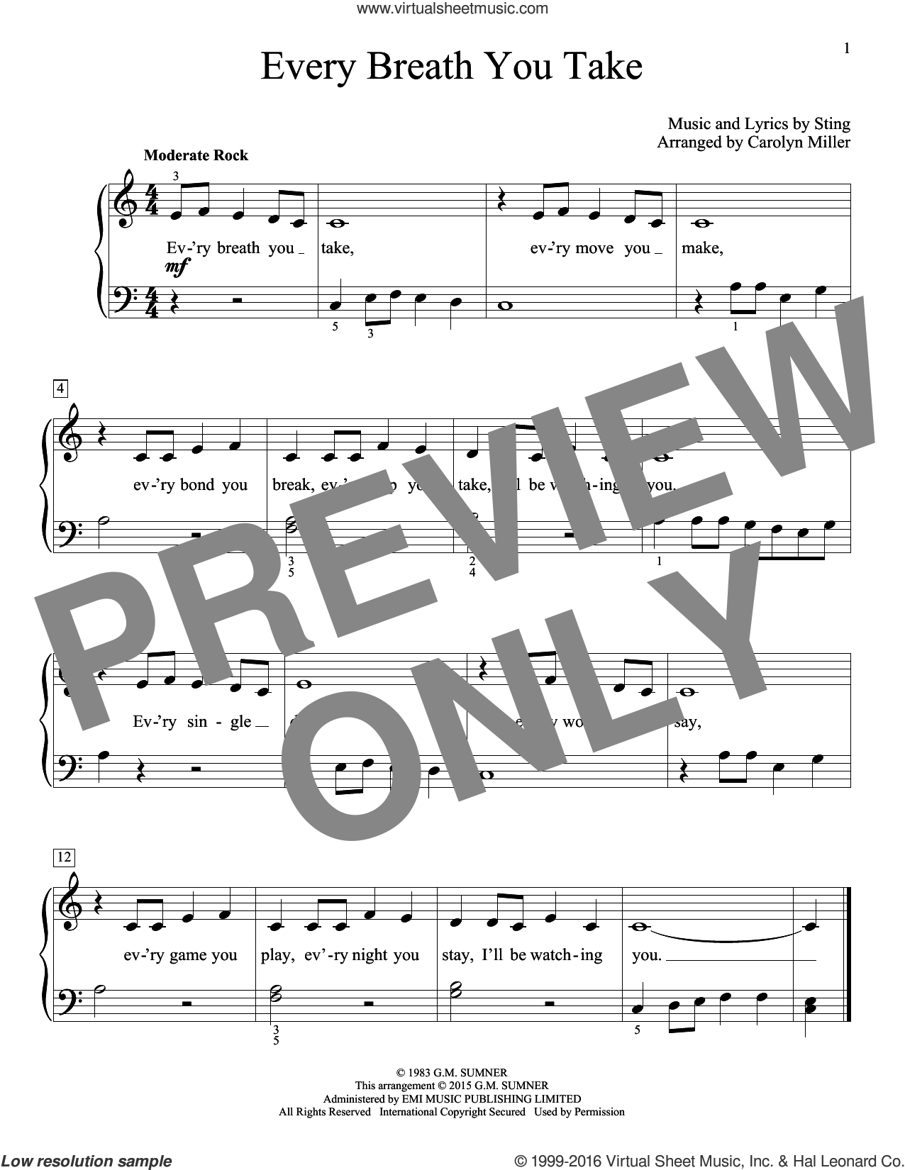 Every Breath You Take sheet music for piano solo (elementary) by The Police (Arr. Carolyn Miller), Carolyn Miller, John Thompson, The Police and Sting, beginner piano (elementary)