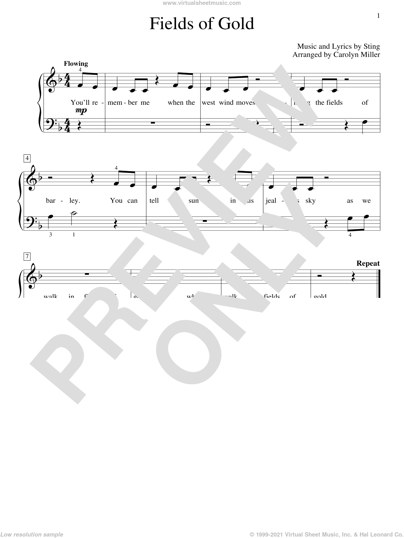 Fields Of Gold (arr. Carolyn Miller) sheet music for piano solo (elementary) by Sting (Arr. Carolyn Miller), Carolyn Miller, John Thompson and Sting, beginner piano (elementary)
