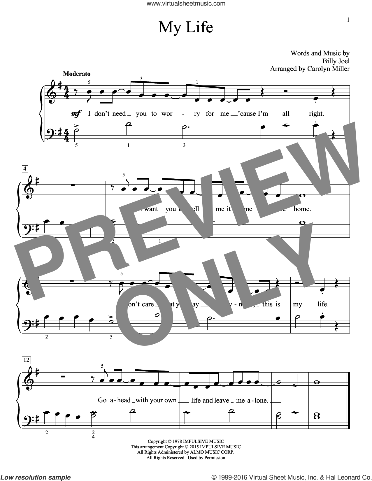 My Life sheet music for piano solo (elementary) by Billy Joel (Arr. Carolyn Miller), Carolyn Miller, John Thompson and Billy Joel, beginner piano (elementary). Score Image Preview.