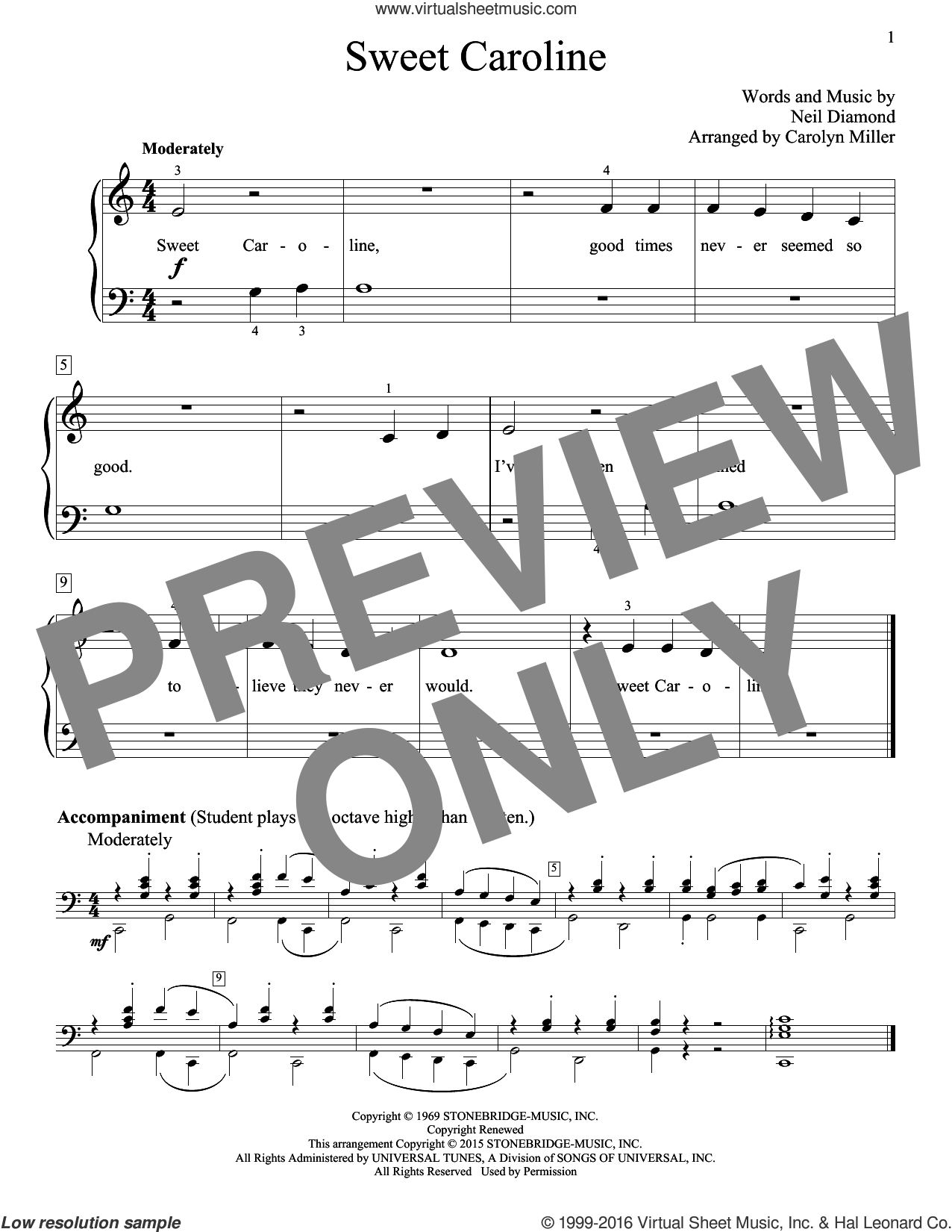 Sweet Caroline sheet music for piano solo (elementary) by Neil Diamond (Arr. Carolyn Miller), Carolyn Miller, John Thompson and Neil Diamond. Score Image Preview.