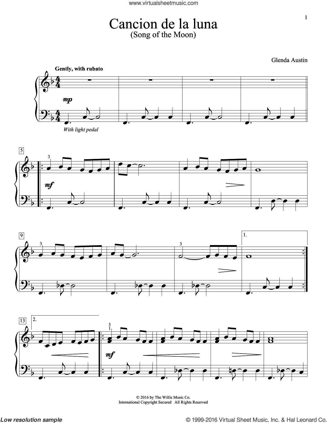 Cancion De La Luna sheet music for piano solo by Glenda Austin, intermediate skill level