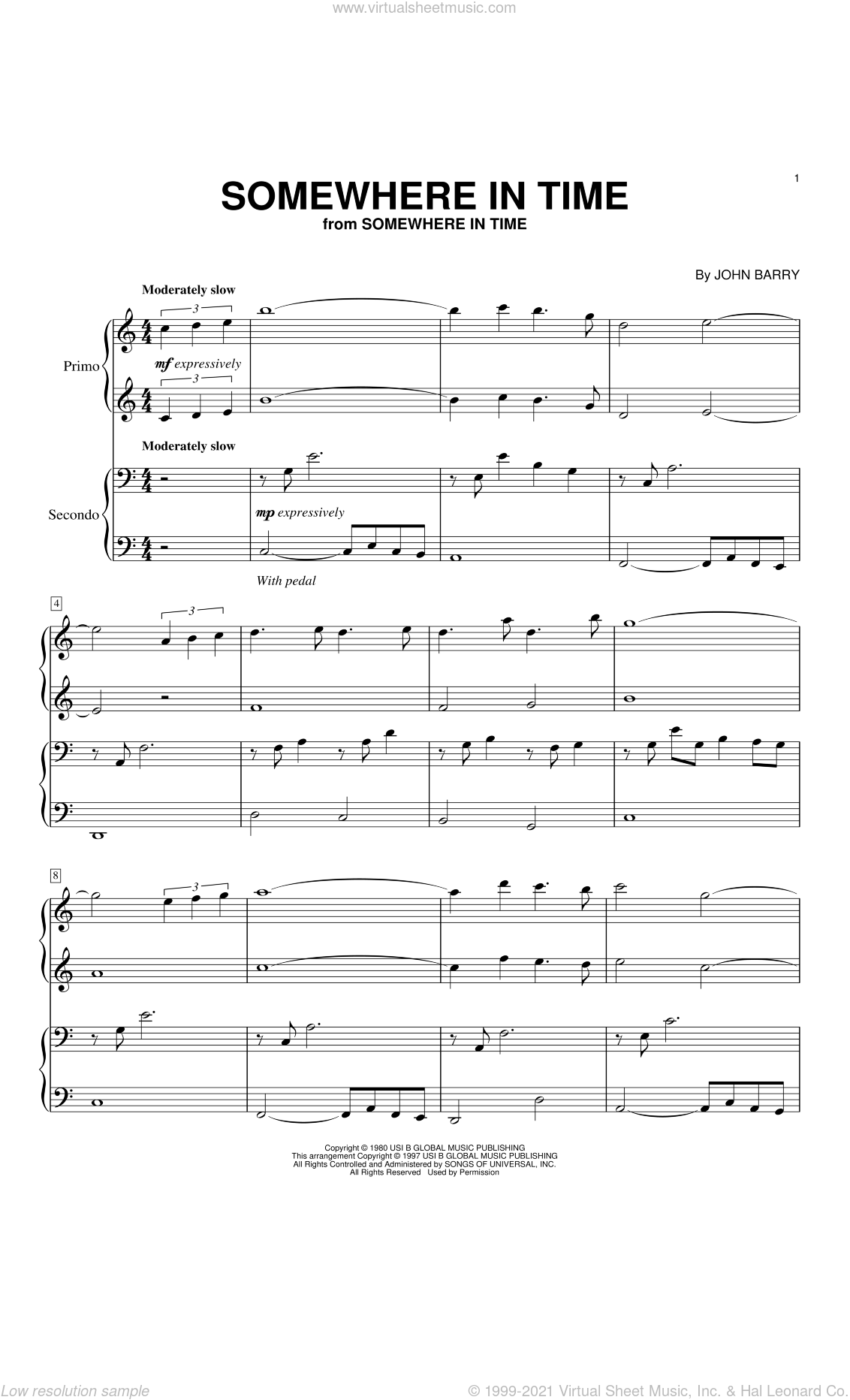 Somewhere In Time sheet music for piano four hands by John Barry and B.A. Robertson, intermediate