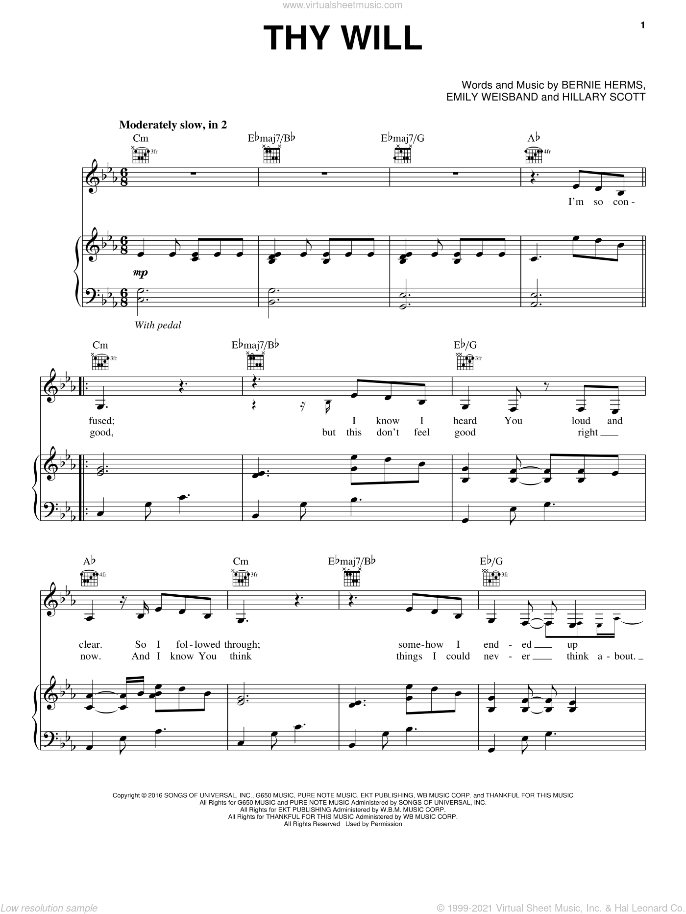 Thy Will sheet music for voice, piano or guitar by Hillary Scott & The Scott Family, Bernie Herms, Emily Weisband and Hillary Scott, intermediate skill level