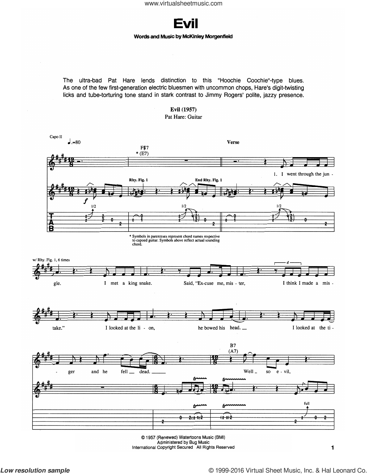 Evil sheet music for guitar (tablature) by Muddy Waters, intermediate skill level