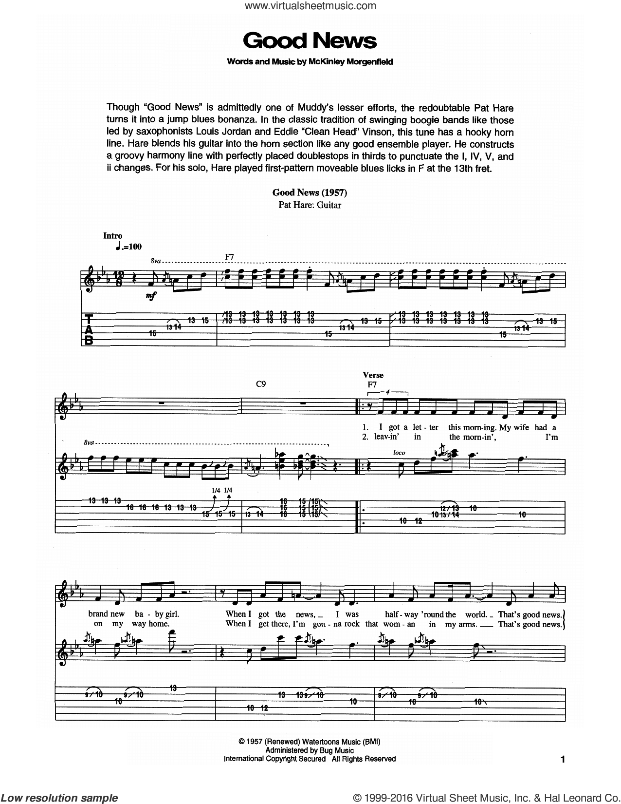 Good News sheet music for guitar (tablature) by Muddy Waters. Score Image Preview.
