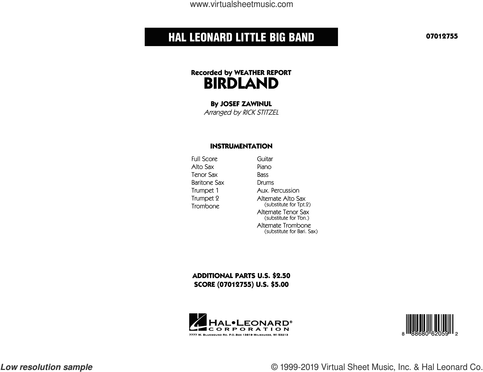 Birdland (COMPLETE) sheet music for jazz band by Rick Stitzel, Jon Hendricks, Josef Zawinul and Manhattan Transfer, intermediate skill level