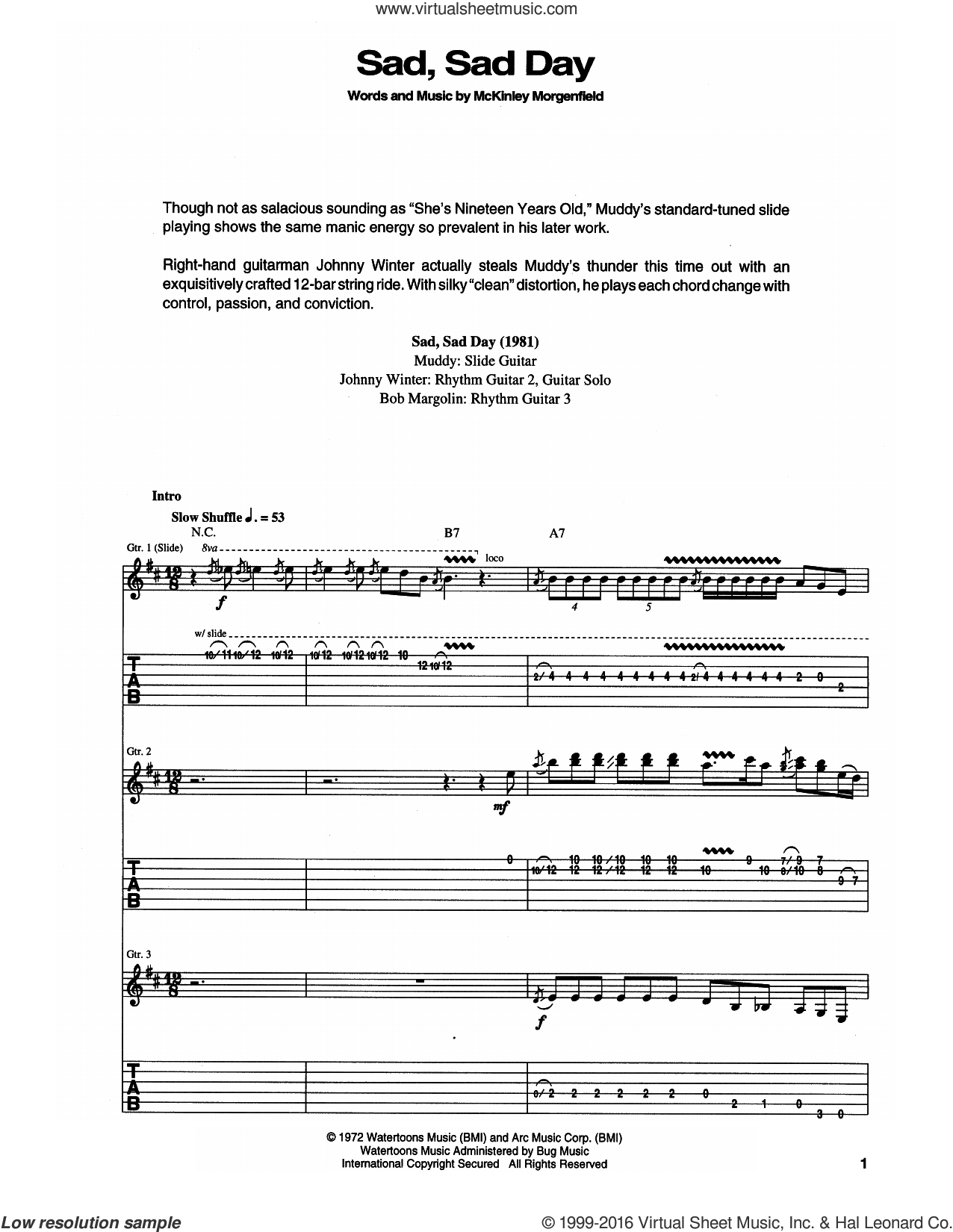 Sad, Sad Day sheet music for guitar (tablature) by Muddy Waters, intermediate skill level