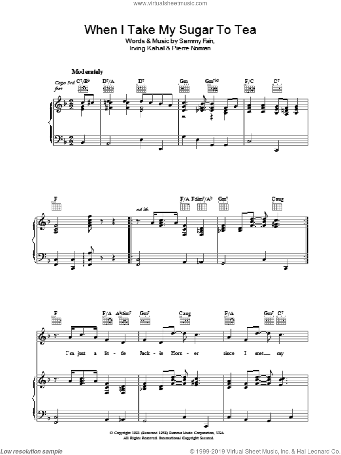 When I Take My Sugar To Tea sheet music for voice, piano or guitar by Sammy Fain, Irving Kahal and Pierre Norman Connor, intermediate. Score Image Preview.
