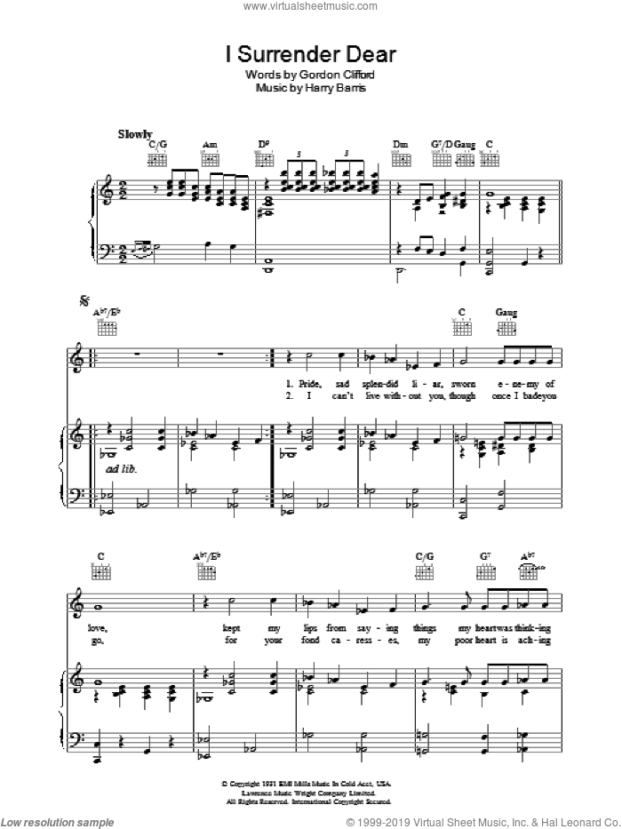 I Surrender, Dear sheet music for voice, piano or guitar by Gordon Clifford and Harry Barris. Score Image Preview.