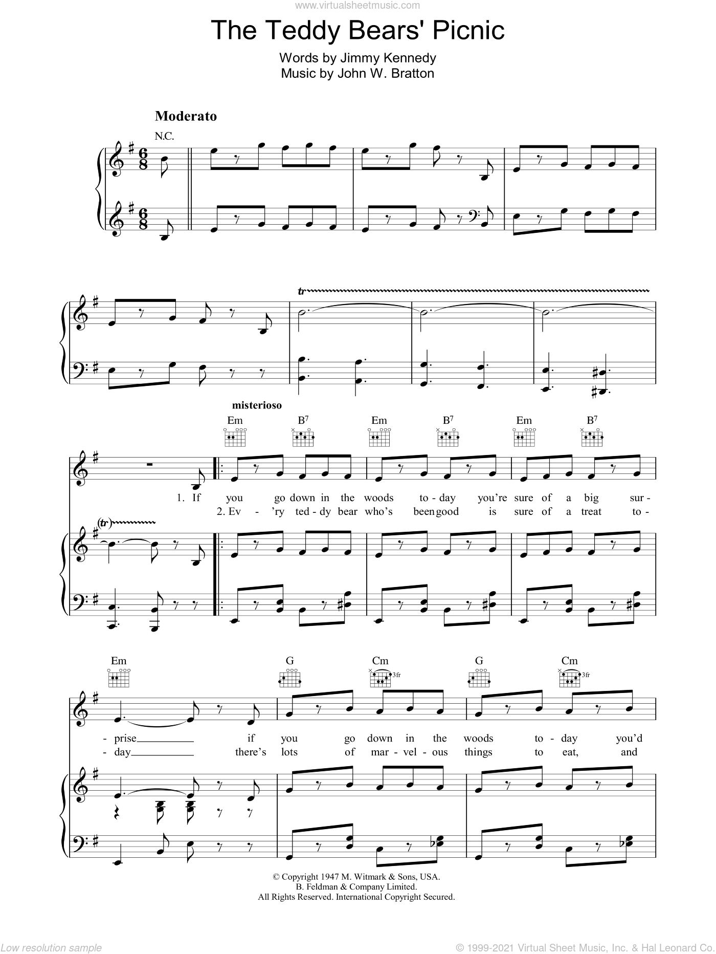 The Teddy Bears' Picnic sheet music for voice, piano or guitar by Jimmy Kennedy and John Bratton, intermediate voice, piano or guitar. Score Image Preview.
