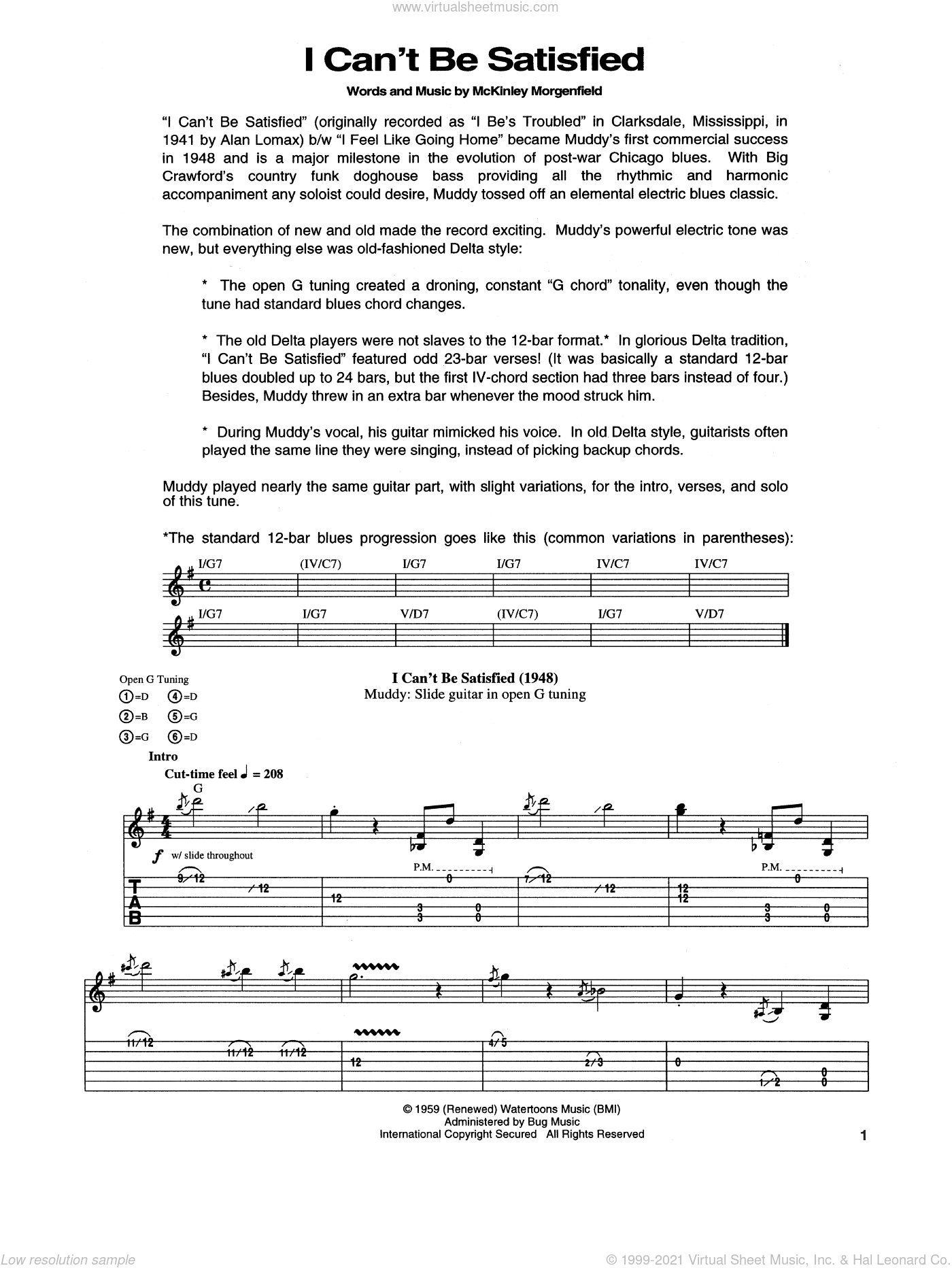 I Can't Be Satisfied sheet music for guitar (tablature) by Muddy Waters. Score Image Preview.