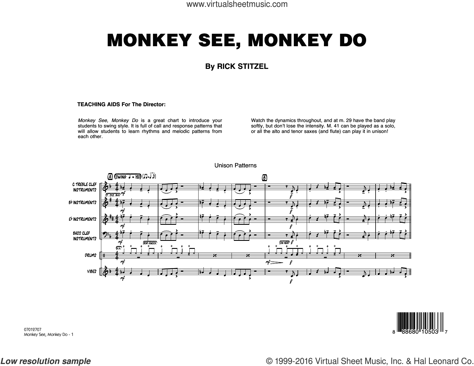 Monkey See, Monkey Do sheet music for jazz band (full score) by Rick Stitzel. Score Image Preview.