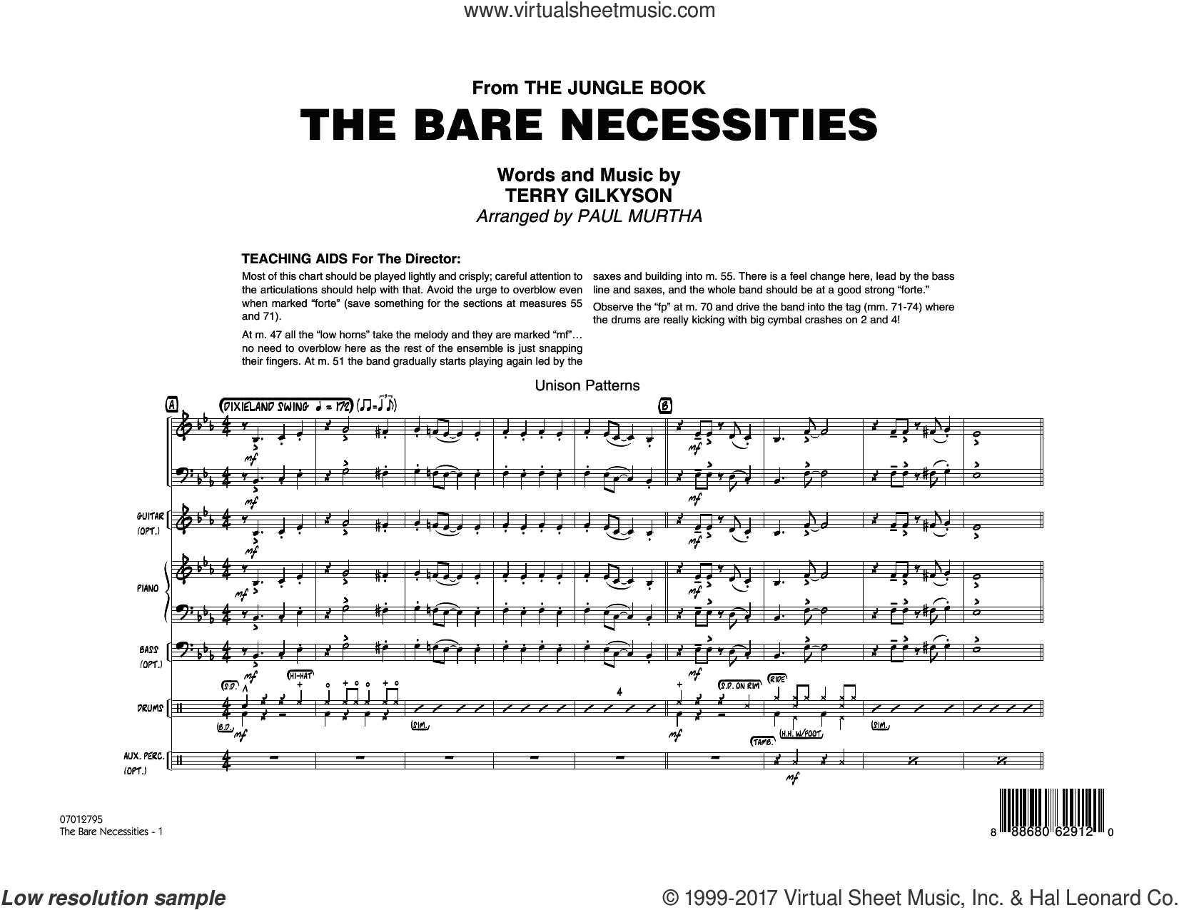 The Bare Necessities (from The Jungle Book) (COMPLETE) sheet music for jazz band by Paul Murtha and Terry Gilkyson, intermediate skill level