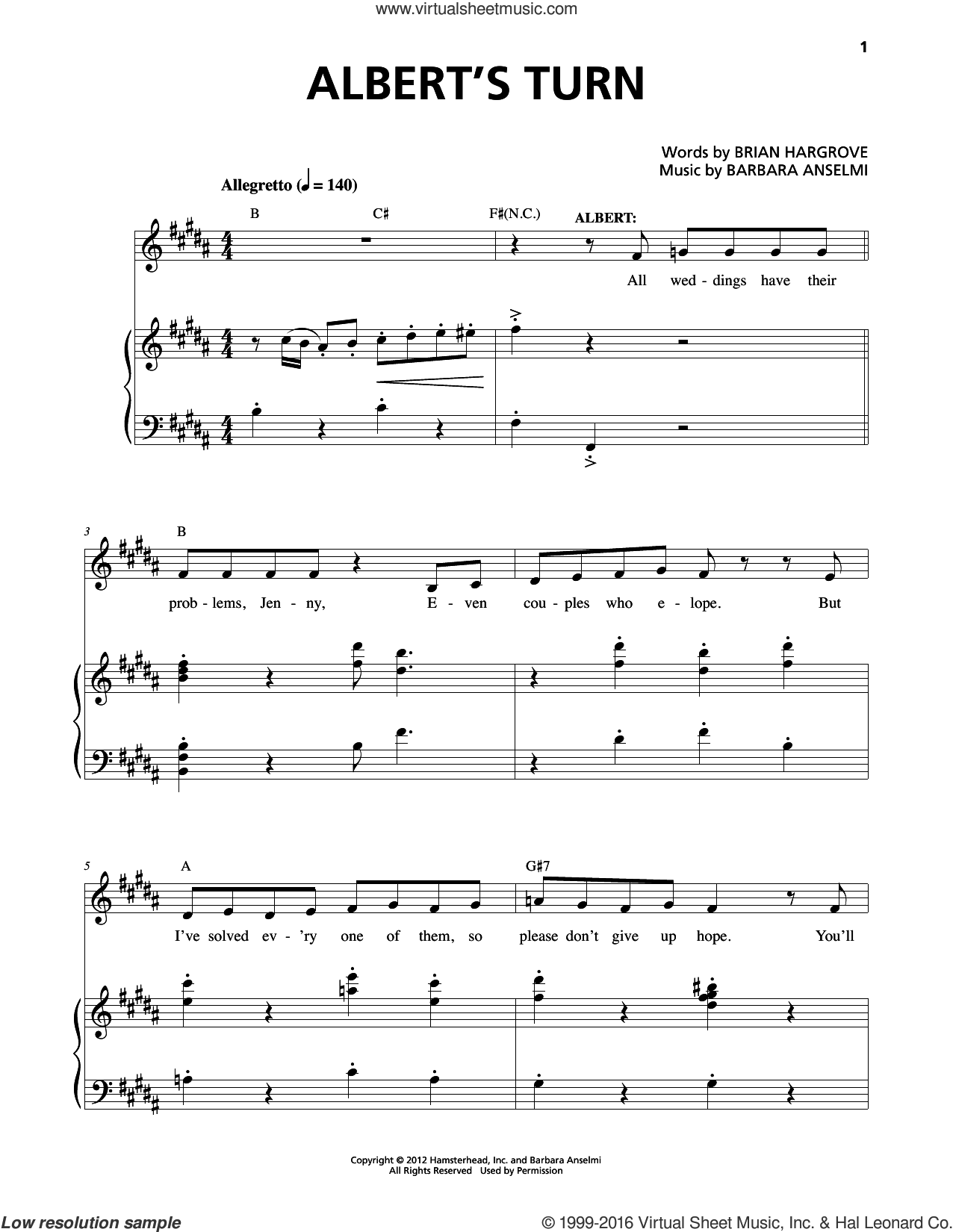 Albert's Turn sheet music for voice and piano by Barbara Anselmi, Barbara Anselmi and Brian Hargrove and Brian Hargrove, intermediate skill level