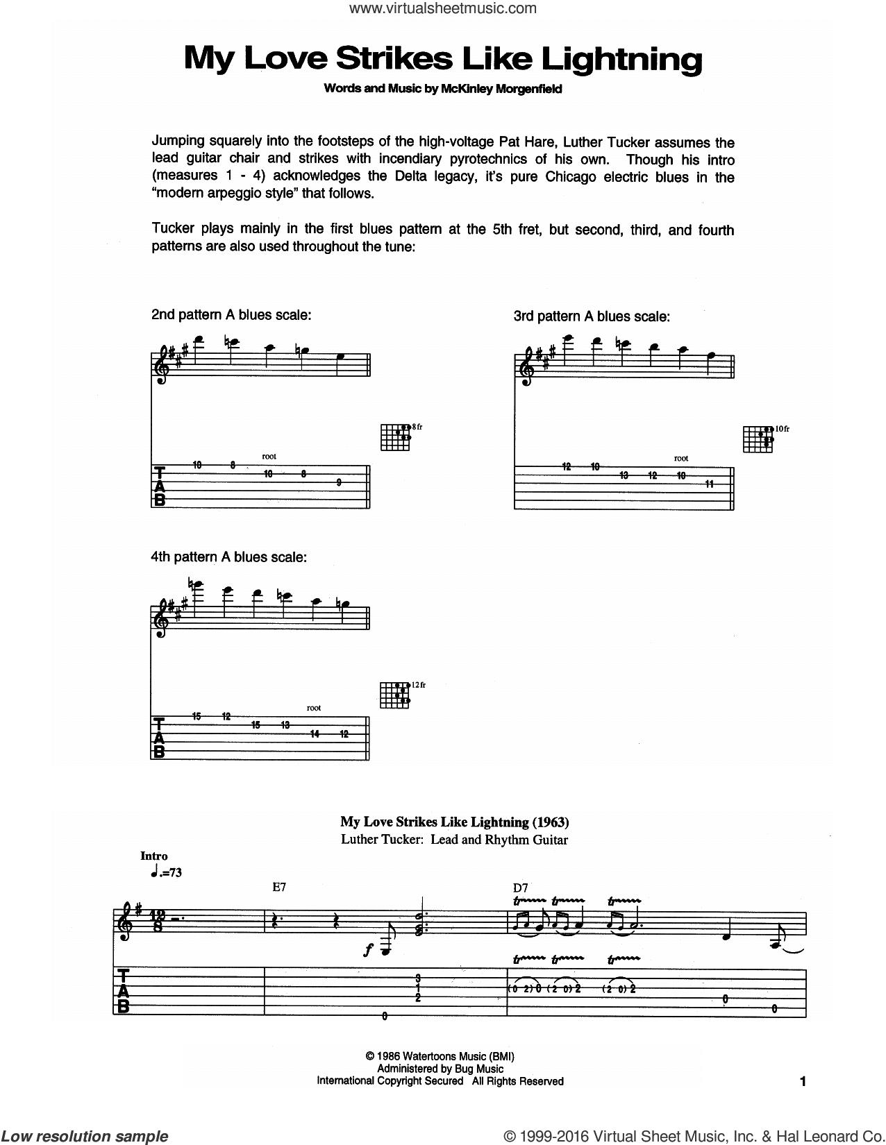 My Love Strikes Like Lightning sheet music for guitar (tablature) by Muddy Waters, intermediate skill level