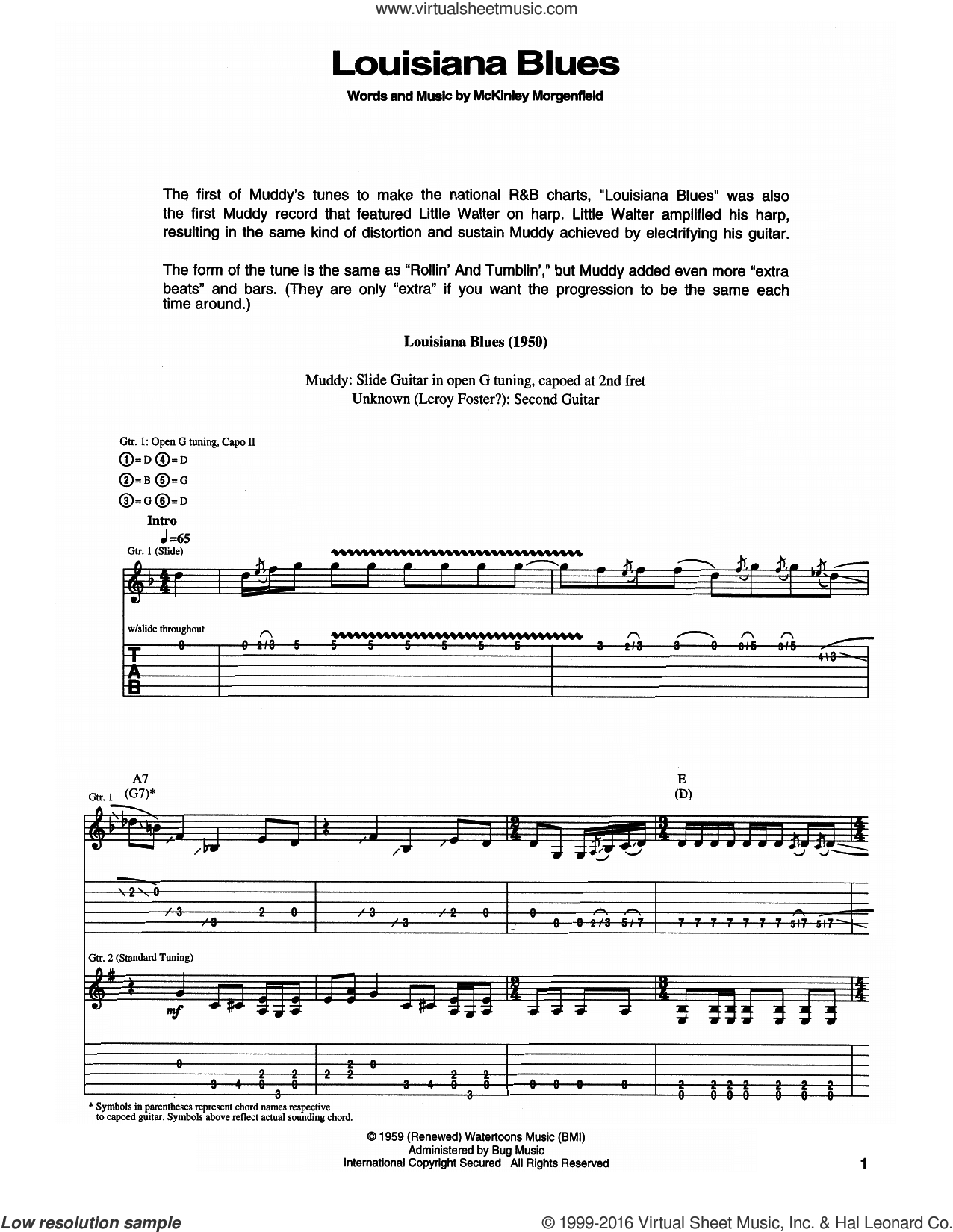 Louisiana Blues sheet music for guitar (tablature) by Muddy Waters. Score Image Preview.