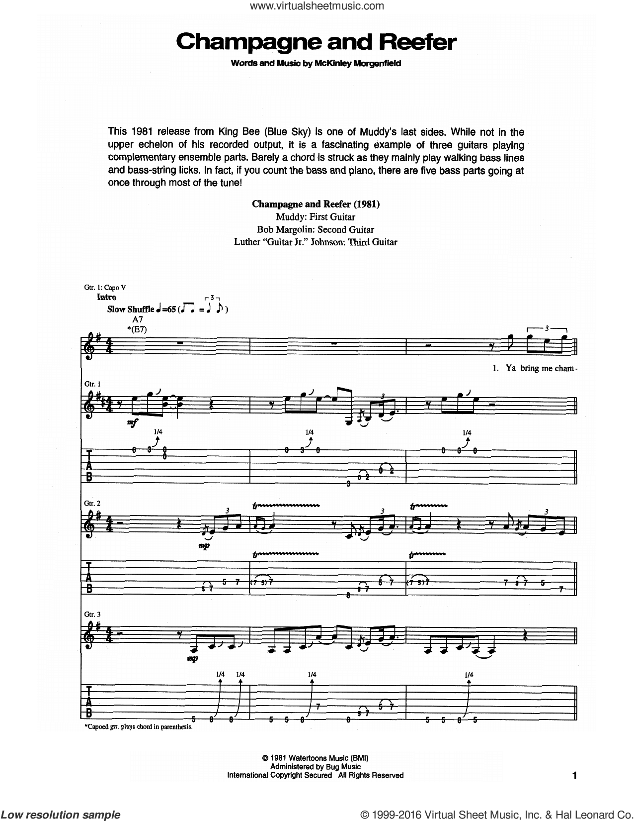 Champagne And Reefer sheet music for guitar (tablature) by Muddy Waters, intermediate guitar (tablature). Score Image Preview.