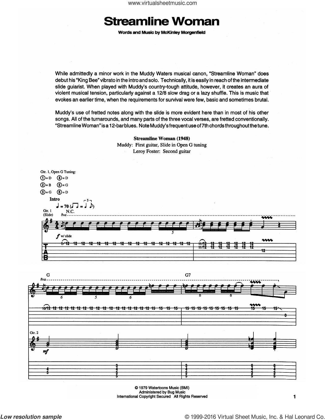 Streamline Woman sheet music for guitar (tablature) by Muddy Waters. Score Image Preview.