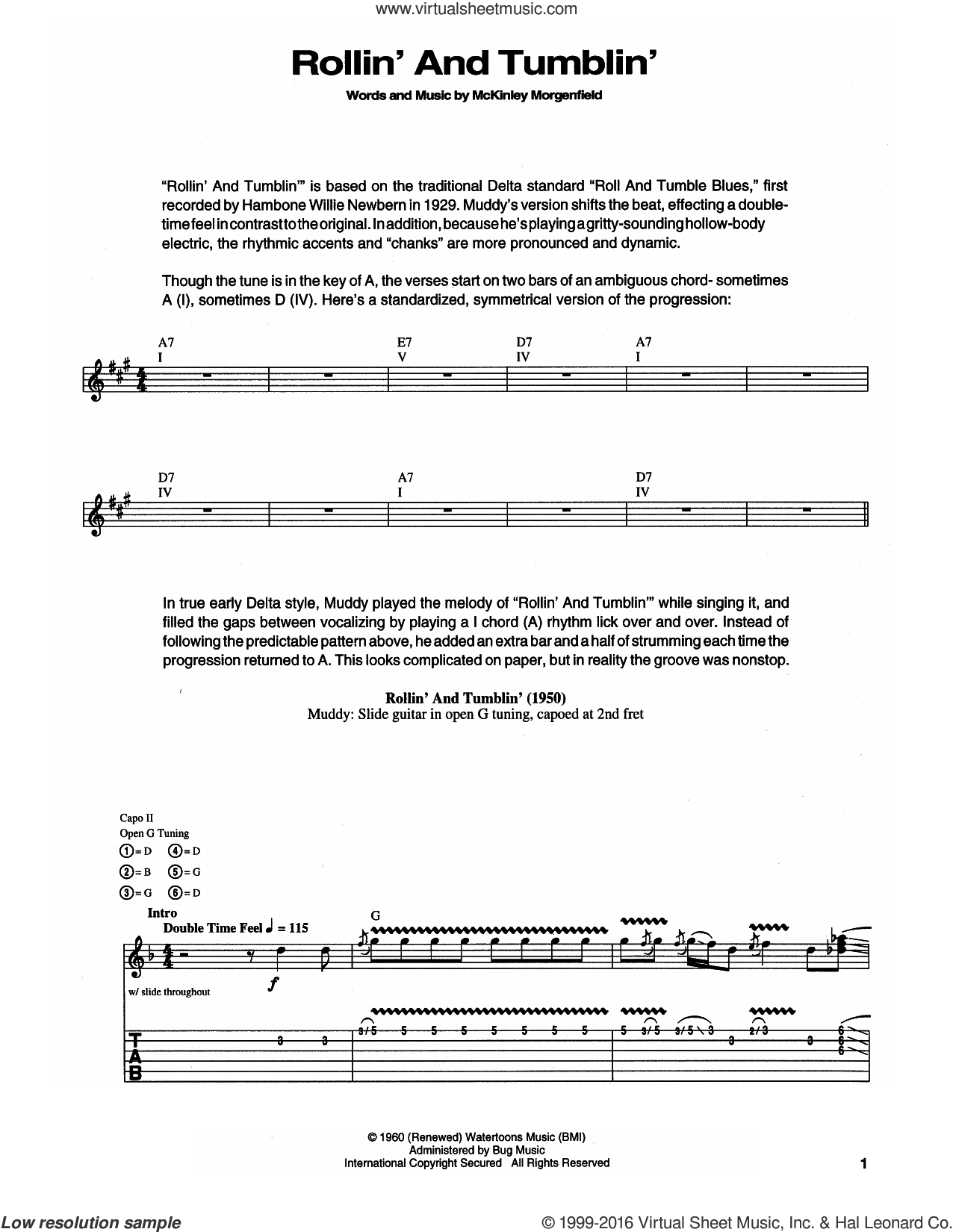 Rollin' And Tumblin' sheet music for guitar (tablature) by Muddy Waters and Eric Clapton. Score Image Preview.