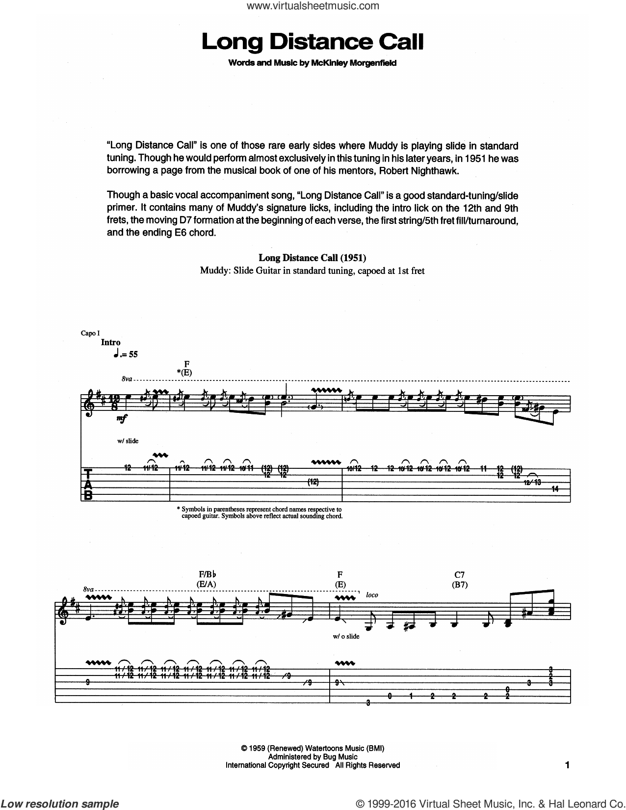 Long Distance Call sheet music for guitar (tablature) by Muddy Waters. Score Image Preview.