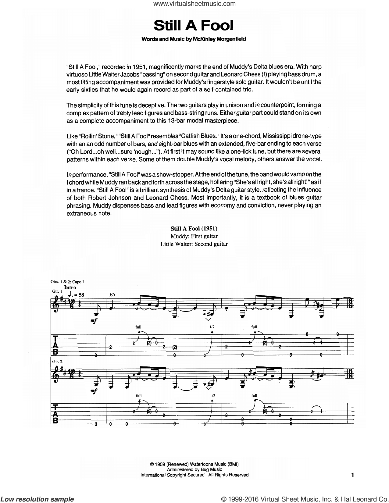 Still A Fool sheet music for guitar (tablature) by Muddy Waters. Score Image Preview.