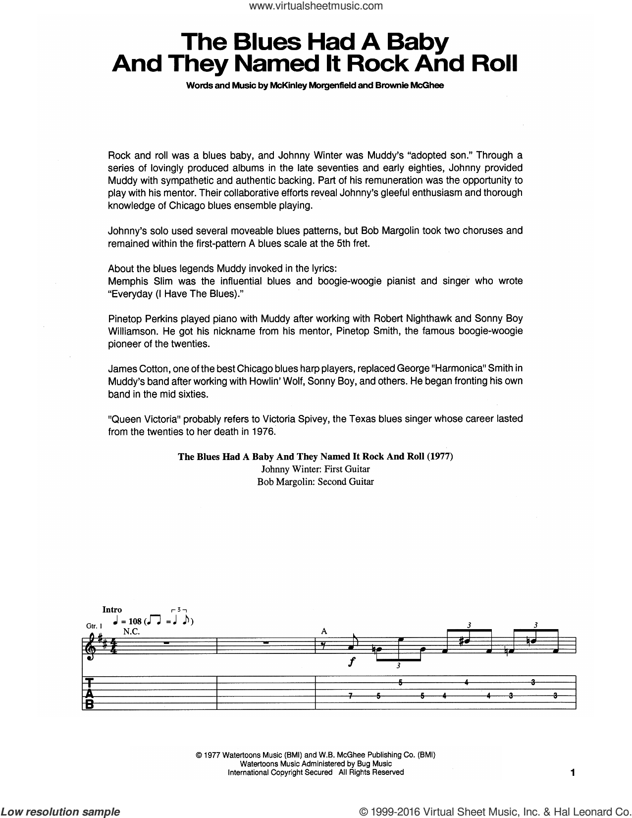 The Blues Had A Baby And They Named It Rock And Roll sheet music for guitar (tablature) by Muddy Waters and Brownie McGhee, intermediate. Score Image Preview.