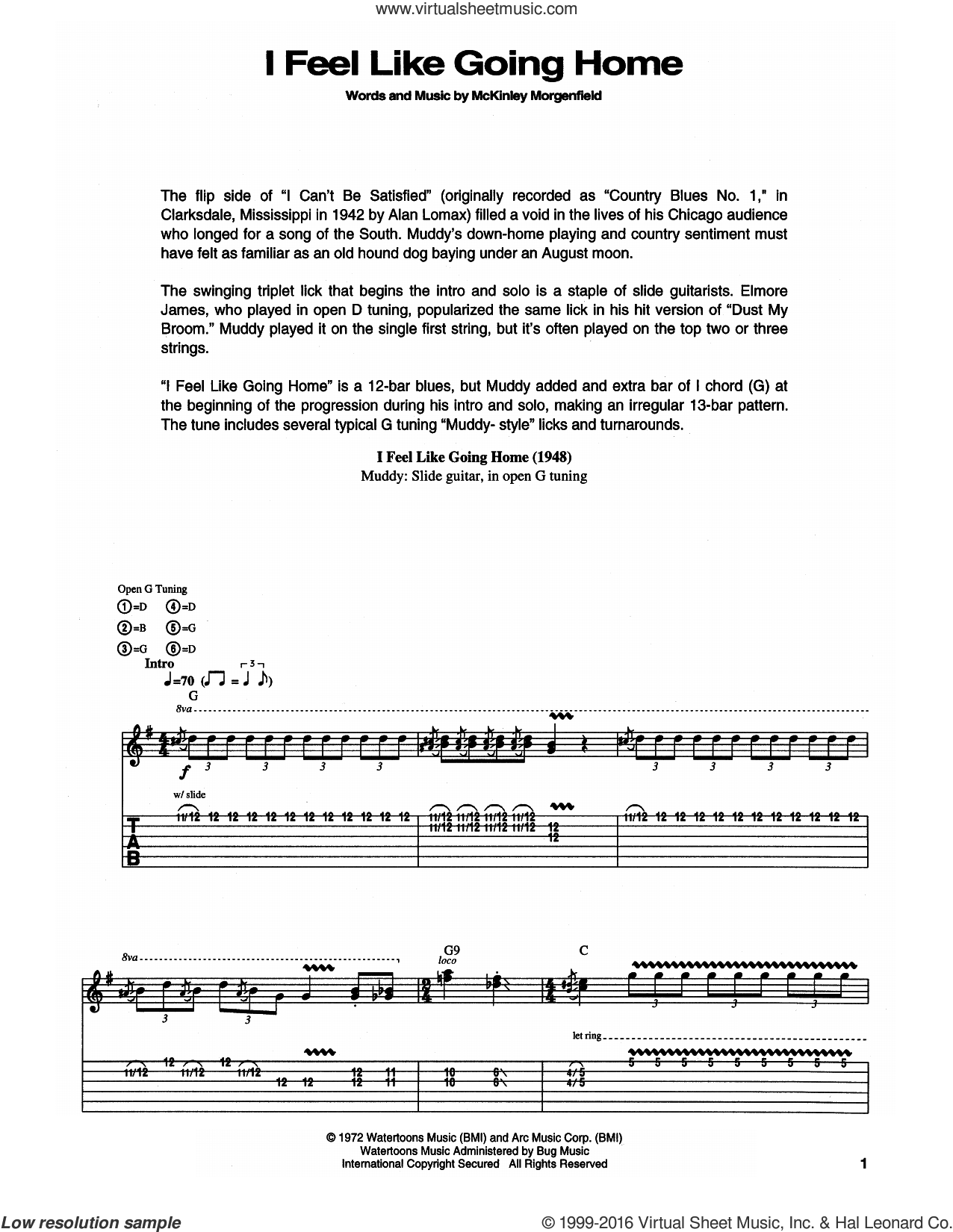 I Feel Like Going Home sheet music for guitar (tablature) by Muddy Waters. Score Image Preview.