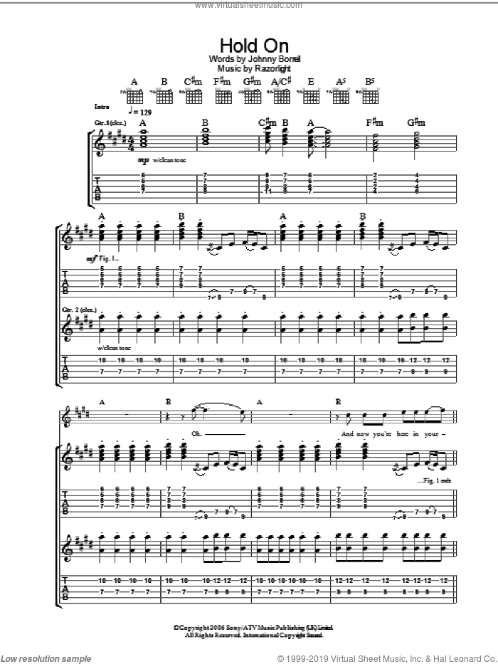 Hold On sheet music for guitar (tablature) by Johnny Borrell