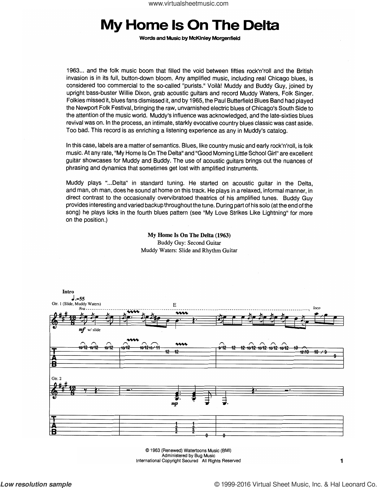 My Home Is On The Delta sheet music for guitar (tablature) by Muddy Waters. Score Image Preview.