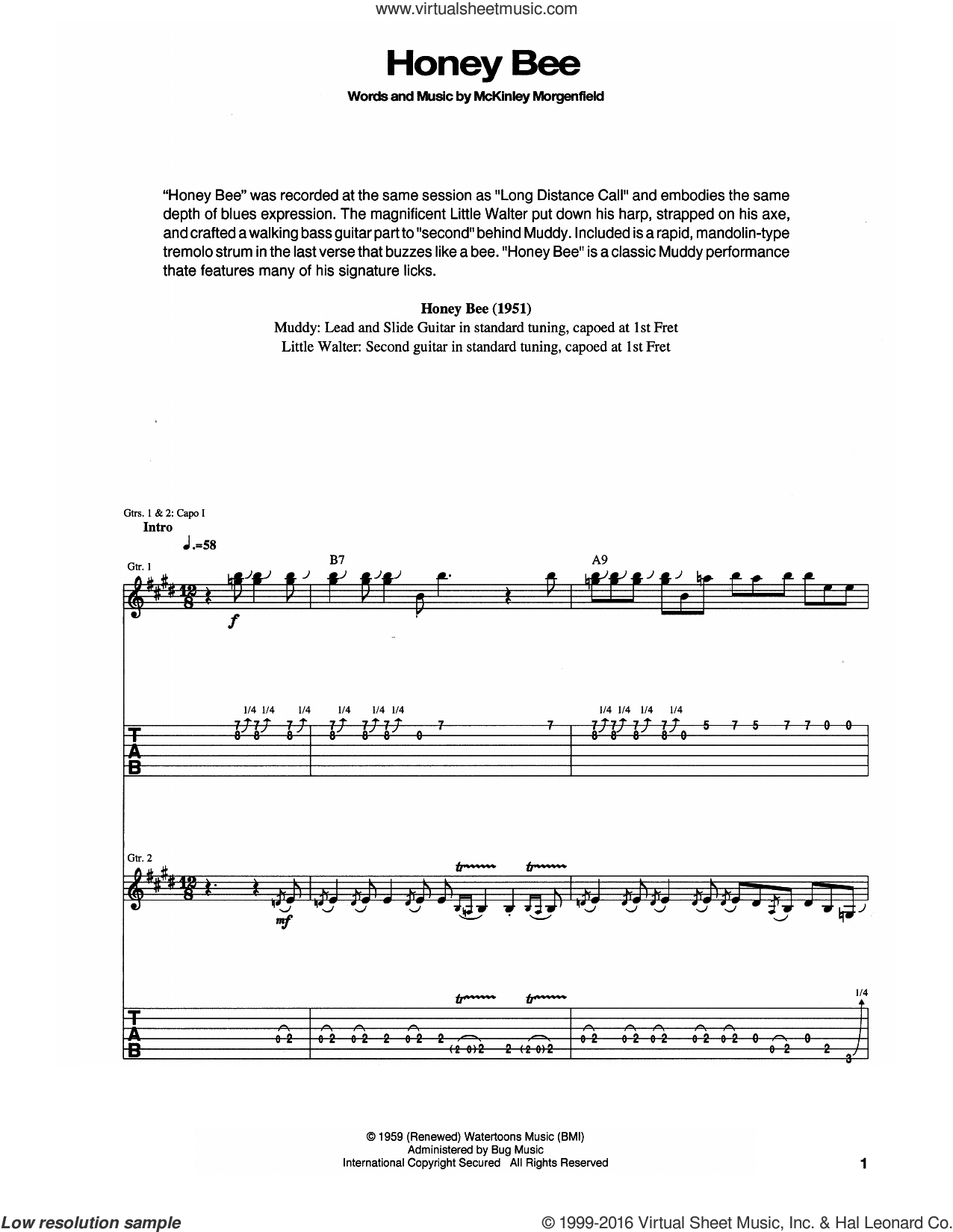 Honey Bee sheet music for guitar (tablature) by Muddy Waters, intermediate skill level