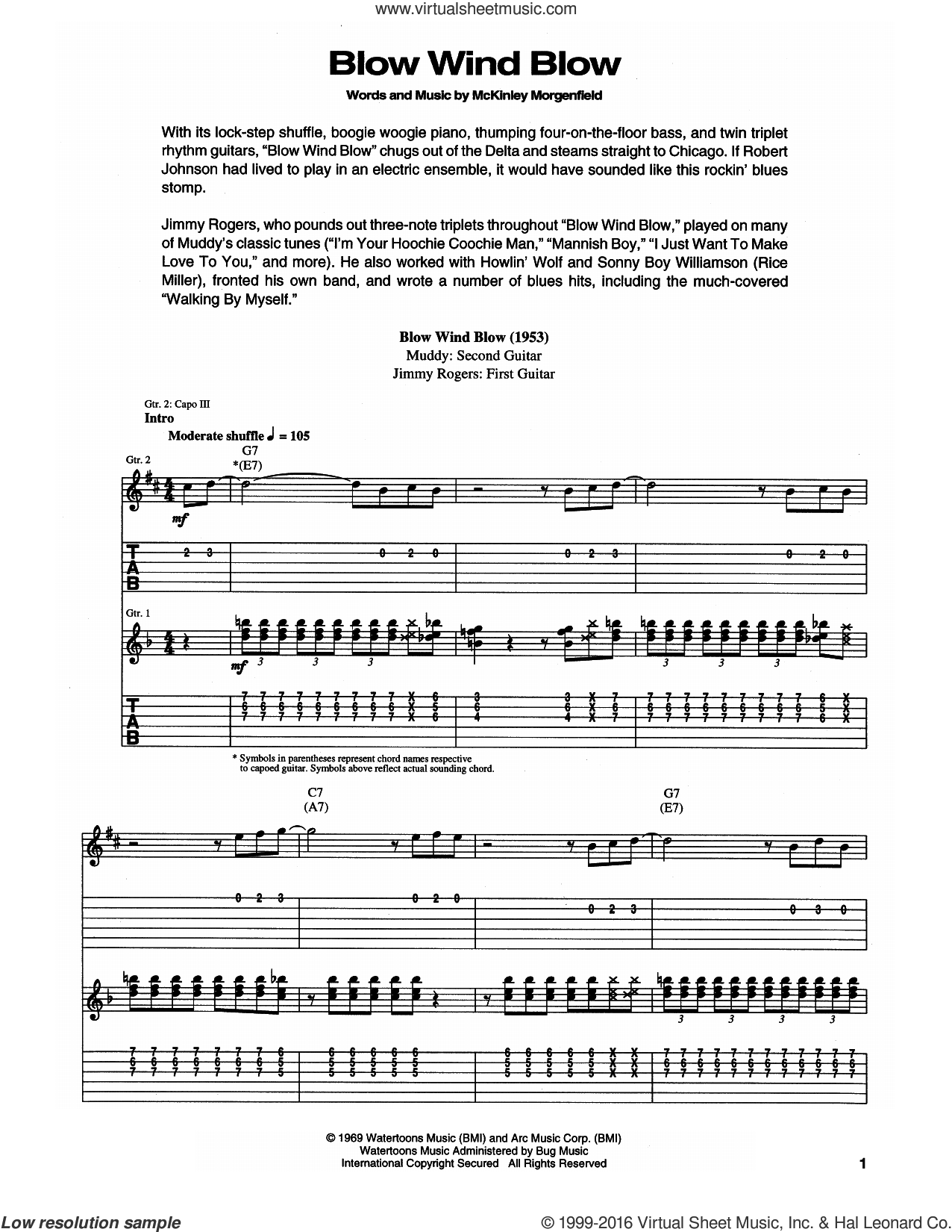 Blow, Wind, Blow sheet music for guitar (tablature) by Muddy Waters and Eric Clapton, intermediate skill level