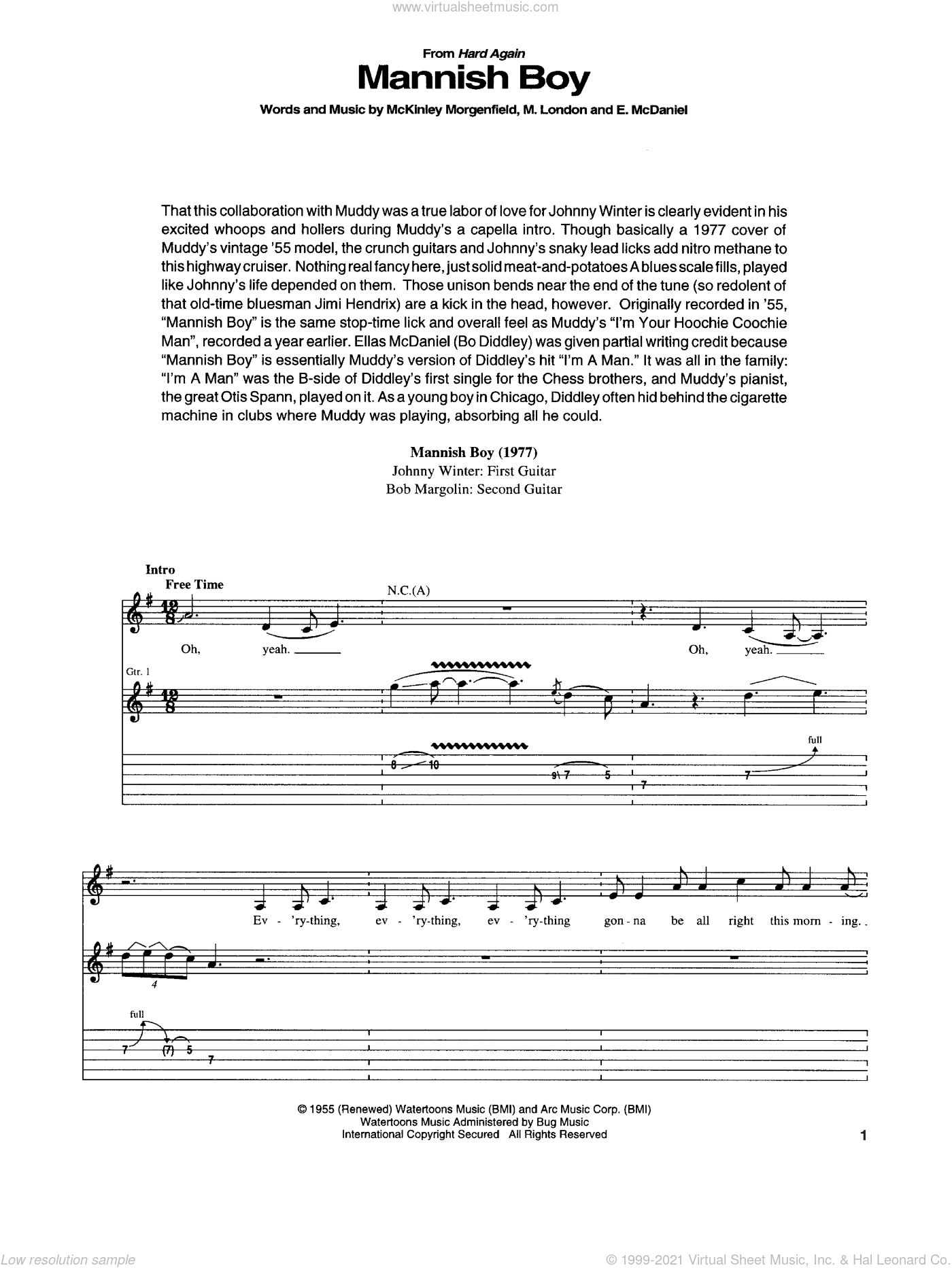Mannish Boy sheet music for guitar (tablature) by Muddy Waters and Jimi Hendrix, intermediate. Score Image Preview.