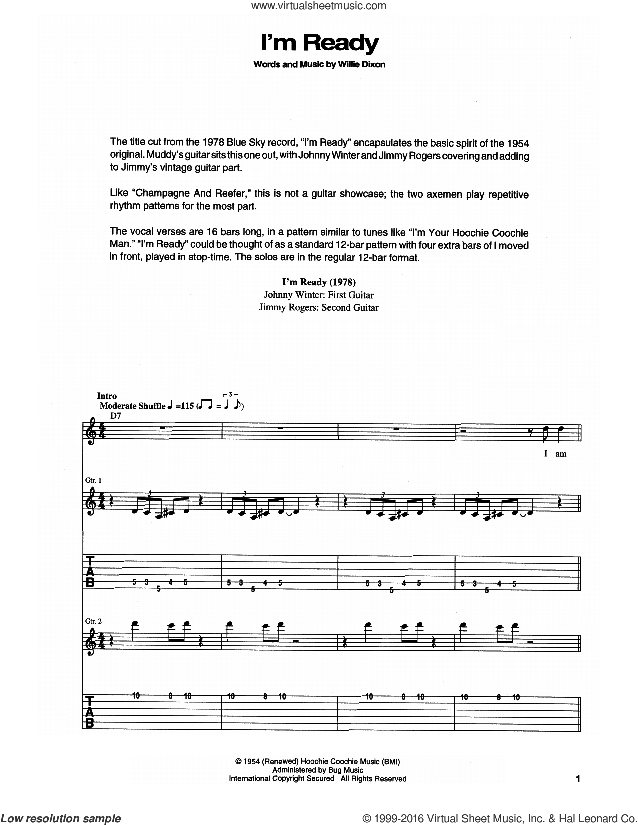 I'm Ready sheet music for guitar (tablature) by Muddy Waters and Willie Dixon. Score Image Preview.