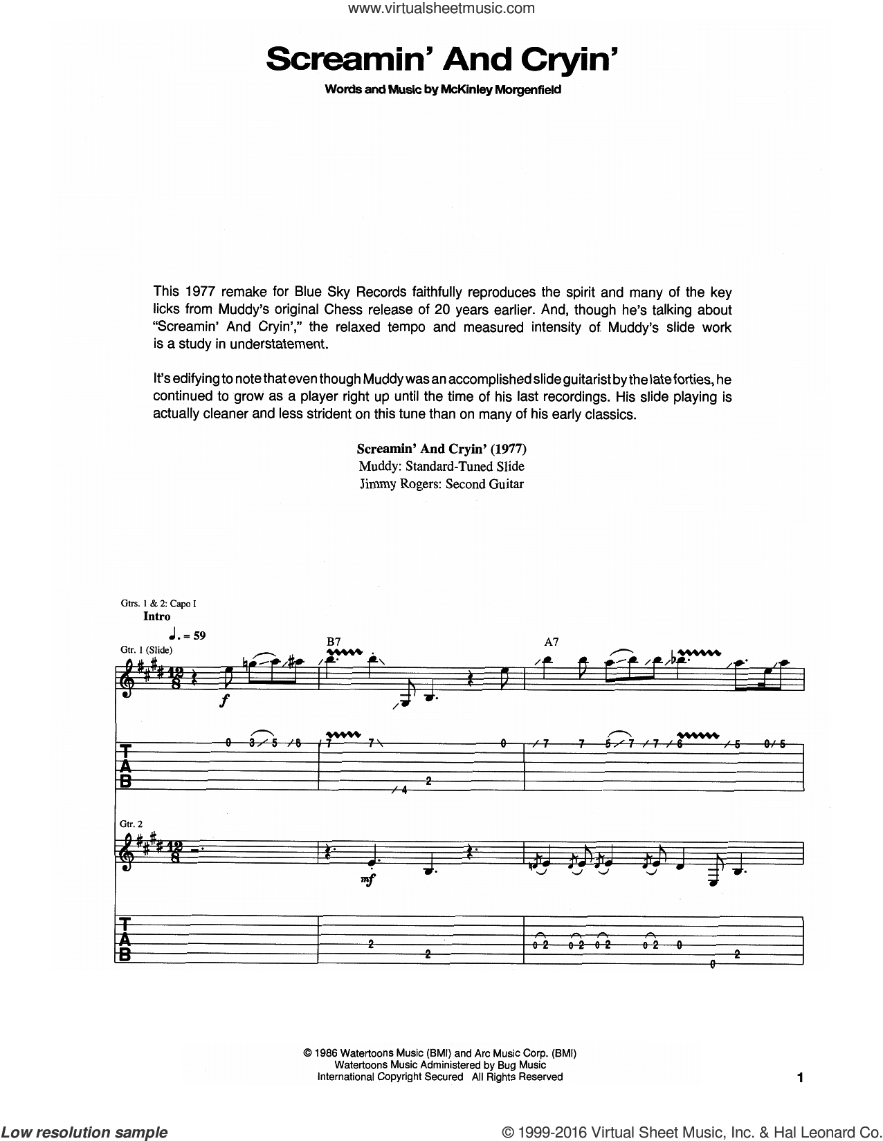 Screamin' And Cryin' sheet music for guitar (tablature) by Muddy Waters. Score Image Preview.