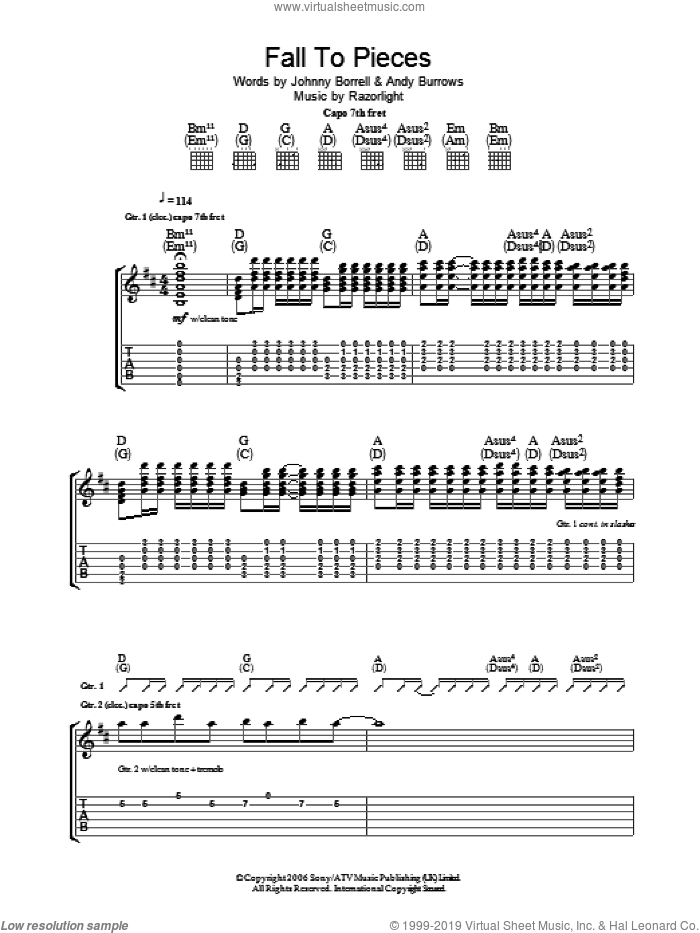 Fall To Pieces sheet music for guitar (tablature) by Andy Burrows and Johnny Borrell. Score Image Preview.