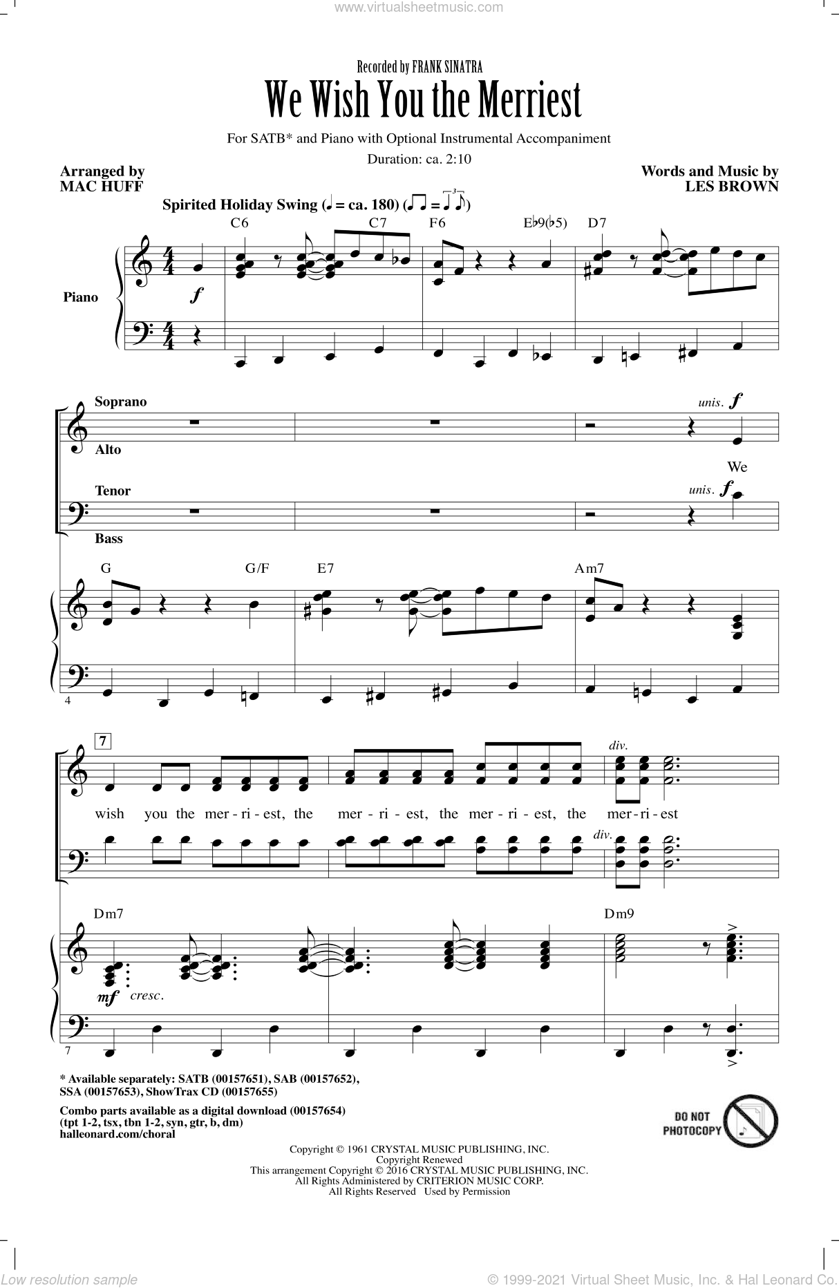 We Wish You The Merriest sheet music for choir (SATB) by Les Brown, Mac Huff and Frank Sinatra. Score Image Preview.