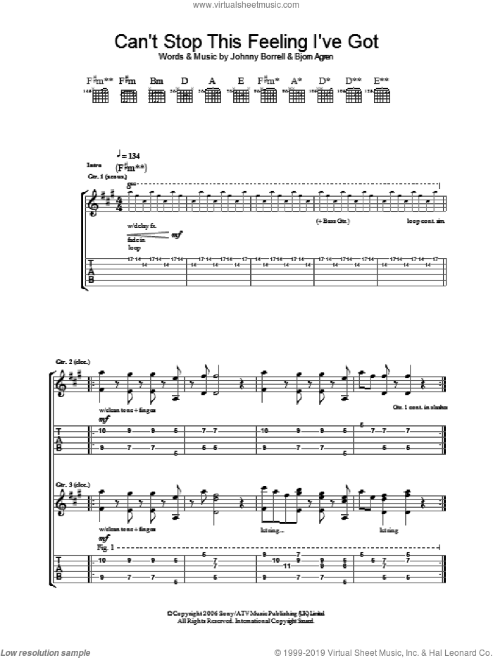 Can't Stop This Feeling I've Got sheet music for guitar (tablature) by Razorlight, Bjorn Agren and Johnny Borrell, intermediate skill level